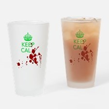 Keep Calm - Zombies - GREEN Drinking Glass