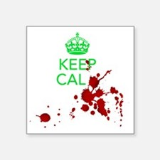 "Keep Calm - Zombies - GREEN Square Sticker 3"" x 3"""