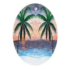 Sunset Palms Oval Ornament