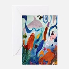 Mermaid and Tropical Fish Party Greeting Card