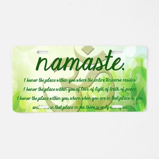 Namaste Greeting Aluminum License Plate