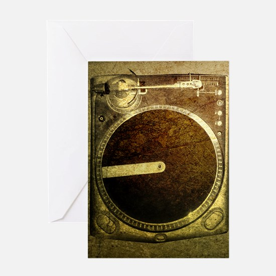 Grunge Dj Turntable Greeting Card