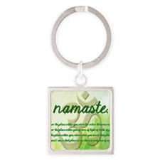 Namaste Greeting Card Square Keychain