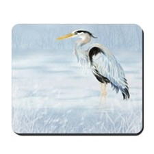 Watercolor Great Blue Heron Bird Mousepad