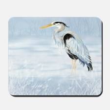 Watercolor Great Blue Heron Bird Mousepad