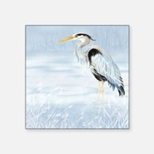 "Watercolor Great Blue Heron Square Sticker 3"" x 3"""