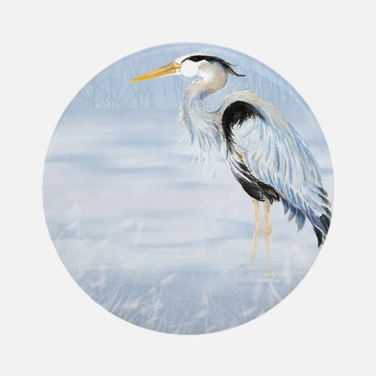 Watercolor Great Blue Heron Bird Round Ornament
