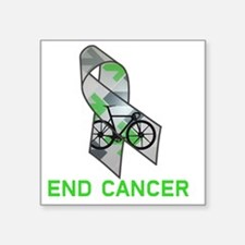 """Large Ribbon End Cancer Square Sticker 3"""" x 3"""""""