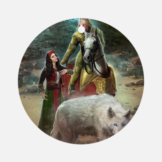 The White Wolf Prophecy Lovers Round Ornament