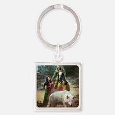 The White Wolf Prophecy Lovers Square Keychain