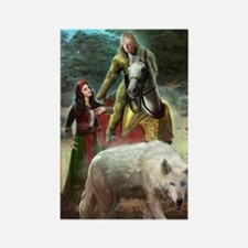 The White Wolf Prophecy Lovers Rectangle Magnet