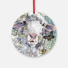 White Sheep Round Ornament