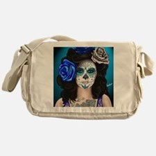 Blue Rose Muertos Pin-up Portrait Messenger Bag