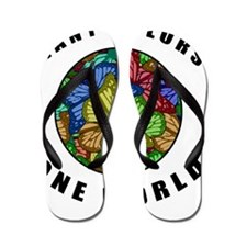 Many Colors, One World Flip Flops