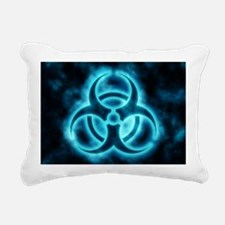 Blue Biohazard Rectangular Canvas Pillow
