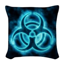 Blue Biohazard Symbol Woven Throw Pillow