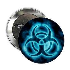 """Blue Biohazard Symbol 2.25"""" Button"""