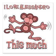 "I Love Alessandro Square Car Magnet 3"" x 3"""