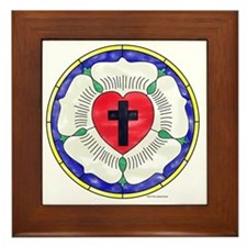 Luther Seal Stained Glass Motif Framed Tile