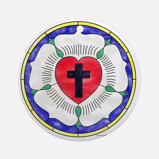 Luther Seal Stained Glass Motif Round Ornament