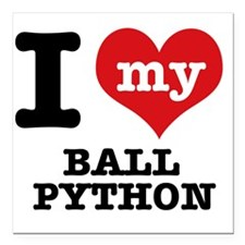 "I Love My Ball Python Square Car Magnet 3"" x 3"""