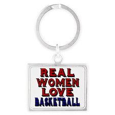 REAL WOMEN LOVE BASKETBALL Landscape Keychain