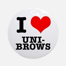 I Heart (Love) Unibrows Ornament (Round)
