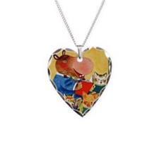 1975 Childrens Book Week Necklace Heart Charm