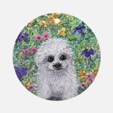 Maltese pup in the garden Round Ornament