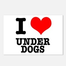 I Heart (Love) Under Dogs Postcards (Package of 8)
