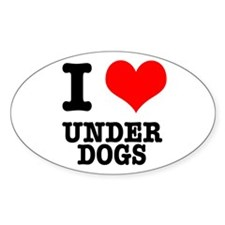 I Heart (Love) Under Dogs Oval Decal
