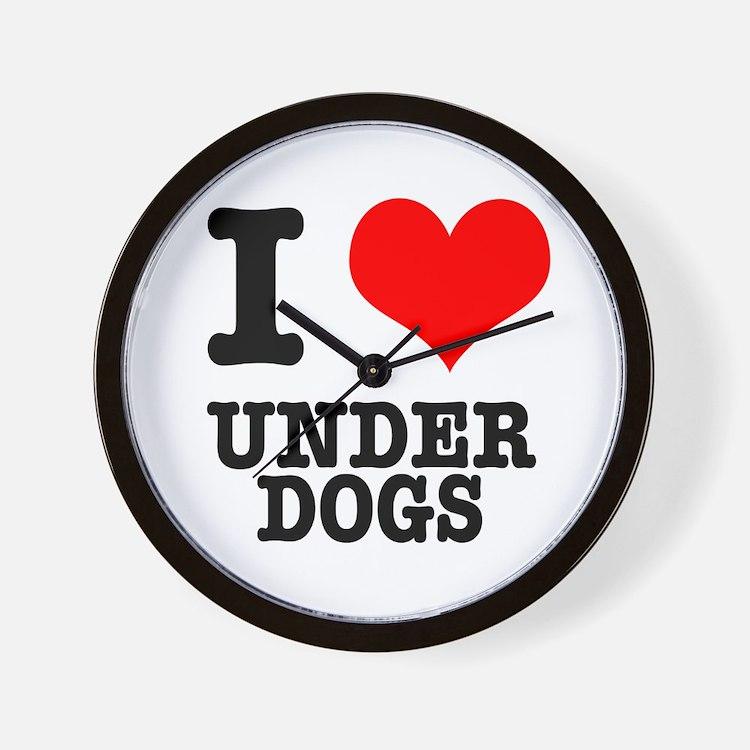 I Heart (Love) Under Dogs Wall Clock