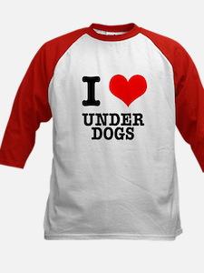 I Heart (Love) Under Dogs Kids Baseball Jersey