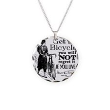 Twain Get A Bicycle Quote Necklace