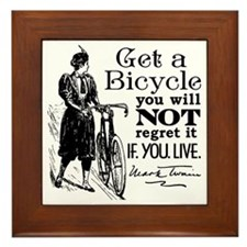 Twain Get A Bicycle Quote Framed Tile