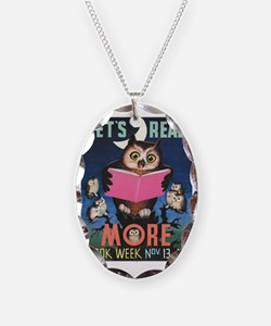 1955 Childrens Book Week Necklace Oval Charm