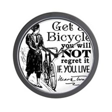 Twain Get A Bicycle Quote Wall Clock
