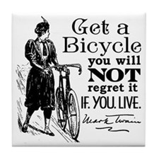 Twain Get A Bicycle Quote Tile Coaster