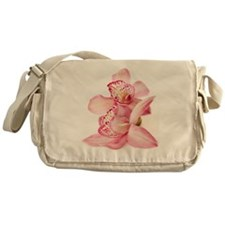 two pink orchids on white Messenger Bag
