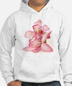two pink orchids on white Hoodie