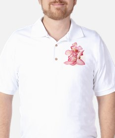 two pink orchids on white T-Shirt