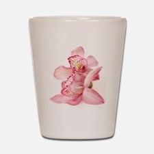 two pink orchids on white Shot Glass
