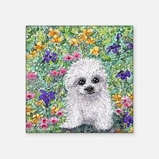 """Maltese pup in the garden Square Sticker 3"""" x 3"""""""