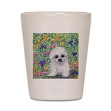 Maltese pup in the garden Shot Glass