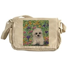Maltese pup in the garden Messenger Bag