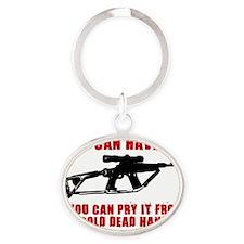 2ND AMMENDMENT GUN SHIRT Oval Keychain