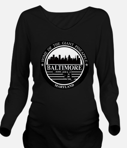 Baltimore logo black Long Sleeve Maternity T-Shirt