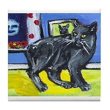 MANX CAT senses smiling moon Tile Coaster