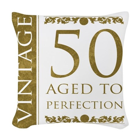 Fancy Vintage 50th Birthday Woven Throw Pillow
