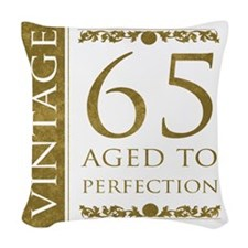 Fancy Vintage 65th Birthday Woven Throw Pillow